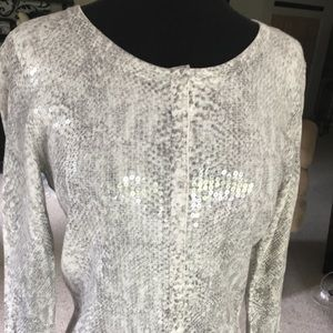 White House Black Market sequin print cardigan